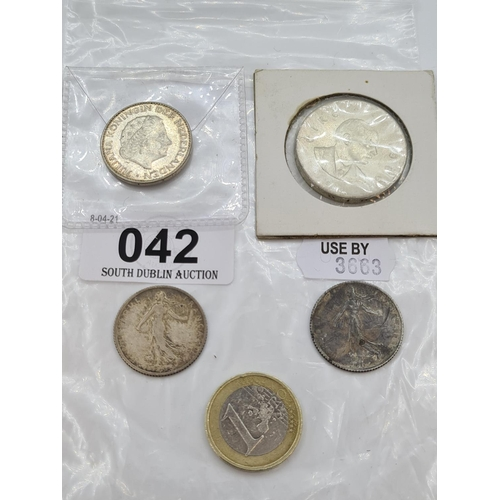 42 - Irish 10 shilling silver 1966 coin French 1 franc and 1 guilder and a silver quarter all silver.
