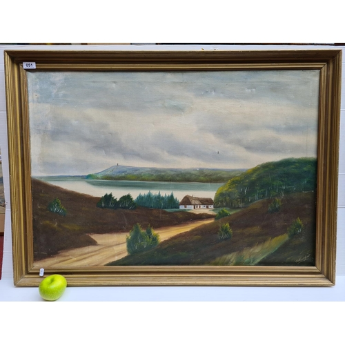 51 - Large oil on canvas of a cottage and lough. Signed by artist.