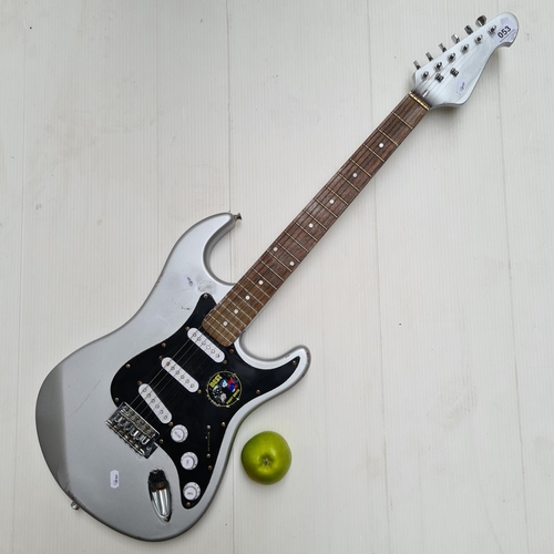 53 - Electric guitar painted silver.