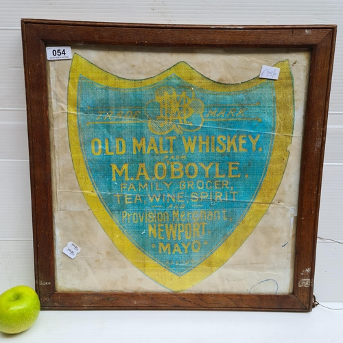 54 - Vintage style print of an M.A. O'Boyle Old Malt Whiskey advertisement.
