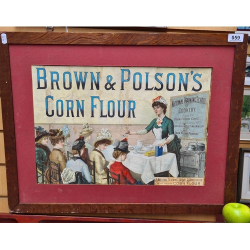 59 - Original print advertisement for Brown & Polson's Corn Flour. Scene shows a class taking place at th...