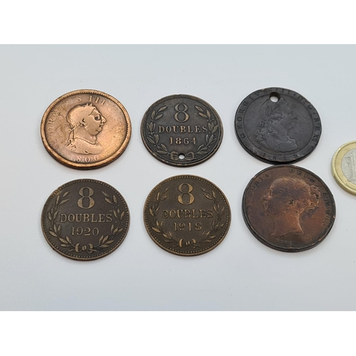 8 - Selection of copper coins inc a cart wheel penny and George 3rd penny 6 in total.