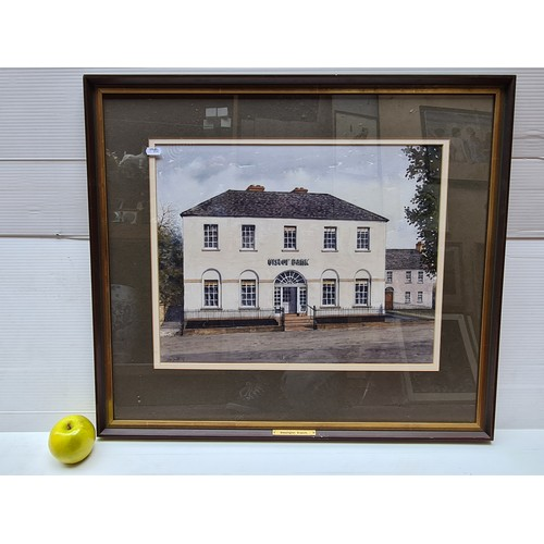 52 - Set of six Jim Dunlop watercolour and ink paintings of Ulster Bank branches around Ireland. Jim Dunl...