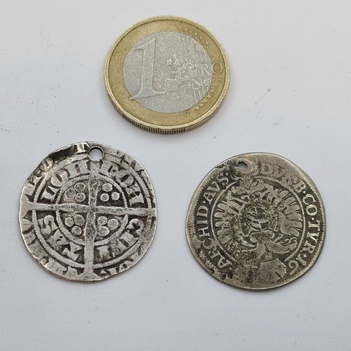 47 - Two genuine 17th century hammered silver coins. Both pierced.