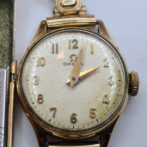 2 - Ladies vintage Omega watch with Rolled gold strap and possibly a 10ct Gold Back.