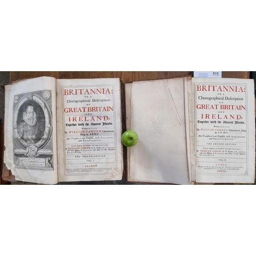 Two very large antique folio books. 'Britannia: Or A Chorographical Description of Great Britain and Ireland,' Volumes I & II (1722)