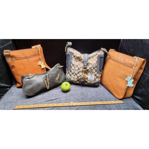 Four original designer handbags including Coach, Juicy Couture, and two Radley London.