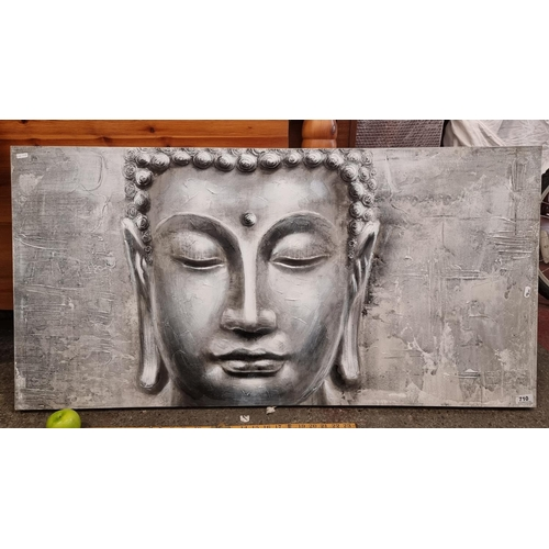 Large textured canvas in grey tones with the head of Buddha
