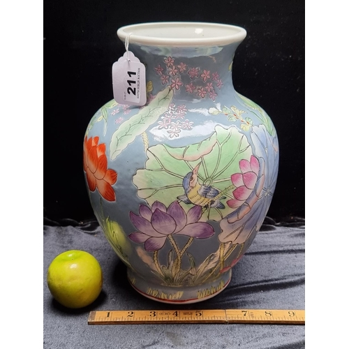 211 - A Lovely large Japanese Vase with Bird and Floral Detail with Japanese Characters on The Base.