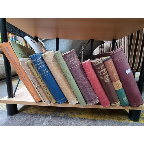 601 - One shelf of vintage books, with mostly religious themes. Includes books on the Christian Brothers a...