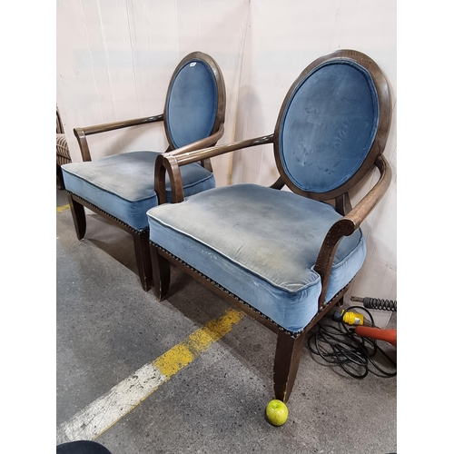 611 - Pair of wide open-armchairs with oval portrait backs and blue velvet upholstery. Lovely pair.