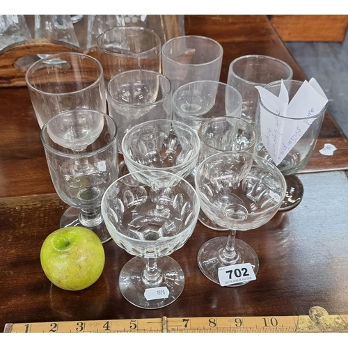 Group of 12 19th century drinking glasses including wine and champagne glasses.