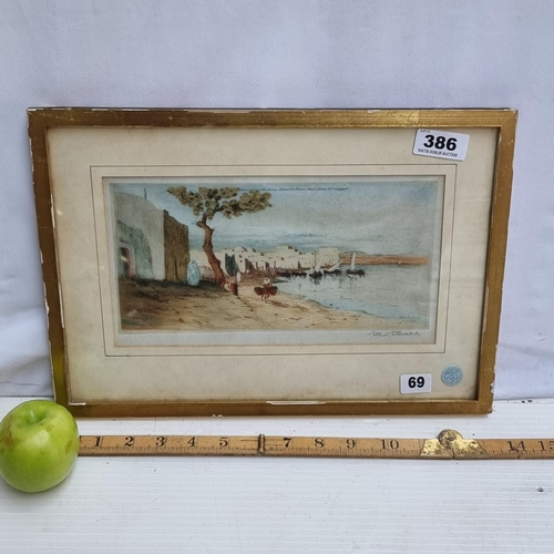 Neat sized etching titled 'North Africa', signed bottom right by the artist David Donald.