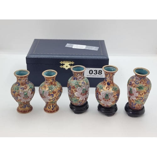 38 - A collection of five miniature cloisonné pots in perfect condition, together with three wood bases i...