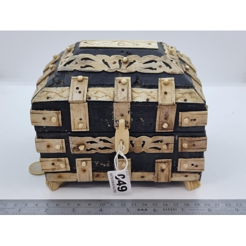 49 - A very handsome wood box with decorative bone detail, possibly of Indian origin. Dimensions 16 (l) x...