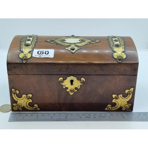 50 - A nice example of a wooden tea caddy with inlaid brass decoration and cabochon stone detail to lid.