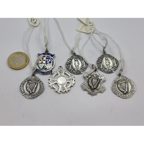 7 - A very nice collection of seven Irish silver medals with various designs. Total weight of silver 43g...