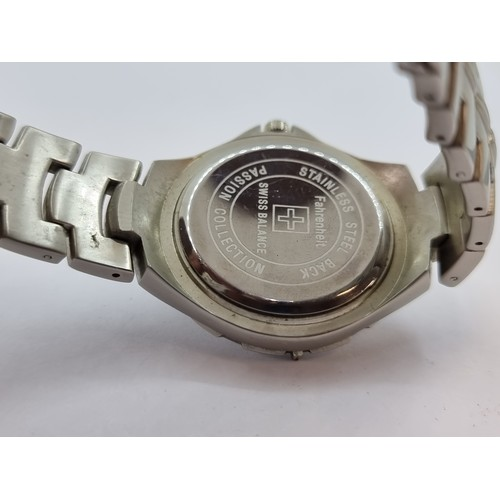 17 - An American Sports Fahrenheit watch with Swiss balance and stainless steel back and strap. Nice, cle...