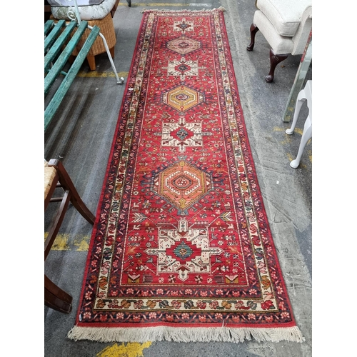 327 - Star Lot : Very beautiful long handmade, hand knotted and hand finished Persian hall runner Mm: 330 ...