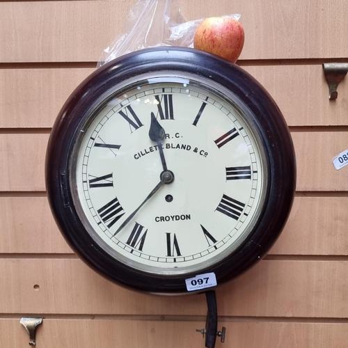 97 - 1877-1884 Antique Victorian fusee wall clock by M.R.C. Cillett Bland & Co. Croydon. Wonderful exampl...