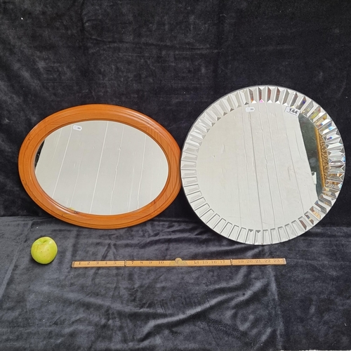 Two circular mirrors, one with a nice cut glass design. Heavy good quality.