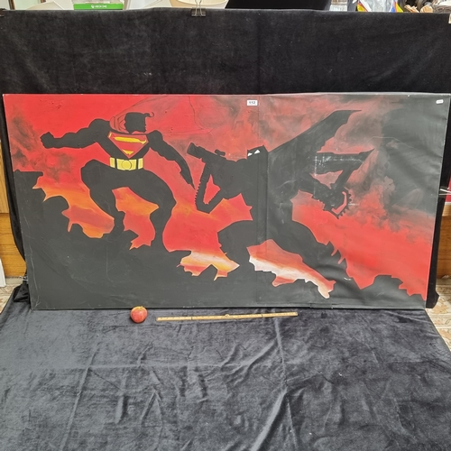 A very large acrylic painting on stretched canvas depicting Superman engaged in a fight with Batman. Inspired by cover art for Batman The Dark Knight Falls by Frank Miller.  A powerful, dramatic piece. Signed and dated verso by the listed  Irish artist Kat Ennis, Spring, '05. Mm: H: 90cm x W: 172cm.