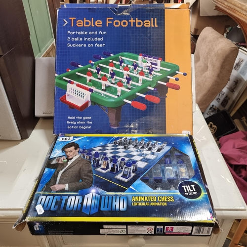 Two Board Games including a vintage Doctor Who Animated Chess Set and a table top Table Football game.