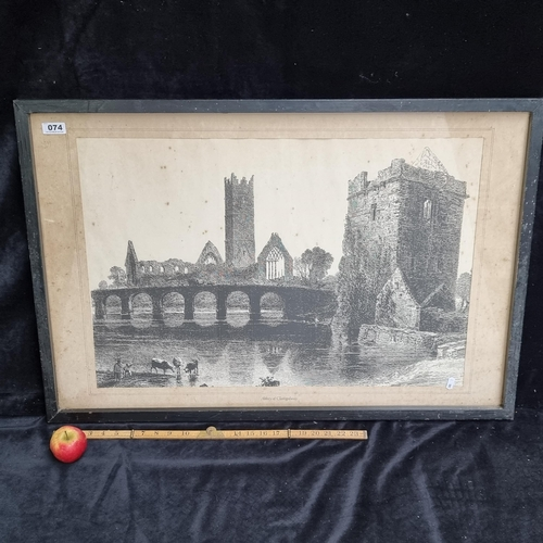 """A large antique  framed antique monochrome print of the """"Abbey of Claregalway""""."""