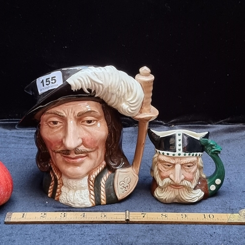 """Two Royal Doulton Toby jugs; one is """"Athos"""" from the Three Musketeers (marked 1955) and the other is """"Viking"""" (marked COPR 1958). In very good condition."""