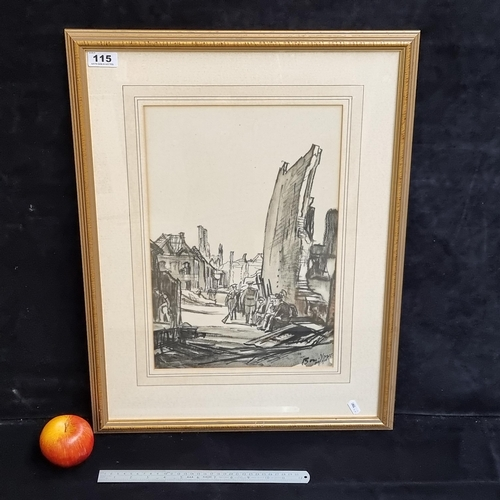 """Star Lot: Large lithograph of wartime bombed ruins by Muirhead Bone titled """"Ruins of Ypres- cloth hall in distance"""", 1918.   Bone was a Scottish etcher and water-colourist who became known for his depiction of industrial and architectural subjects and his work as a war artist in both the First and Second World Wars."""