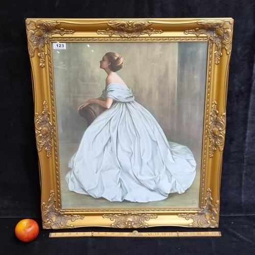 123 - Large framed print of a painting titled