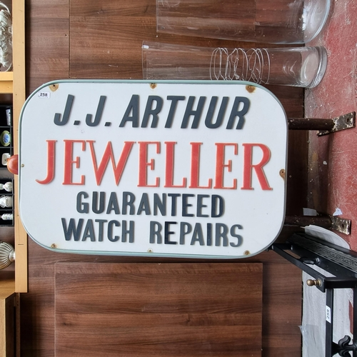258 - Star Lot : A very large Unique double sided vintage wall mounting sign for ''J.J Arthur Jeweller - G...