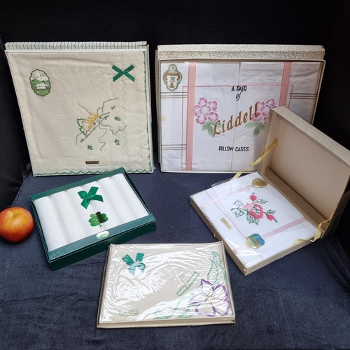 268 - 5 boxes of vintage Irish Linen with original packaging. All look to be unused and unopened.