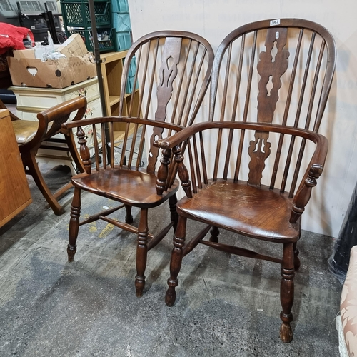 563 - Star Lot : Fabulous pair of his and hers Antique elm Windsor chairs.  Great to get a pair.