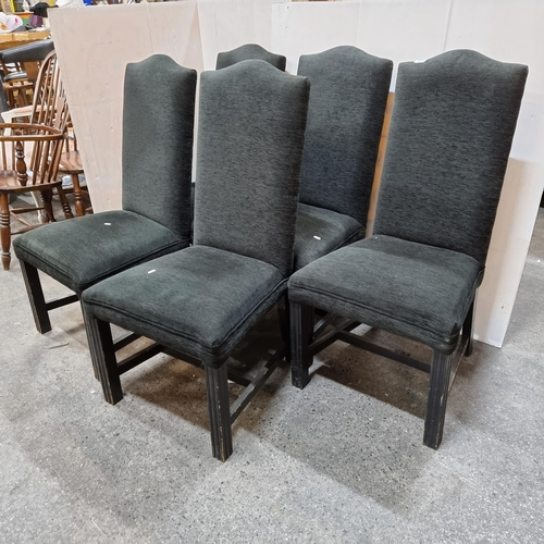 566 - A set of five high-back dining chairs with black chenille woven upholstery. Really nice set.