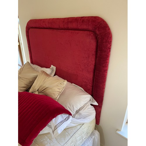 469 - Lovely double bed With red Headboard and skirt, 4'6 with all pictured bedding and throw. Super clean...