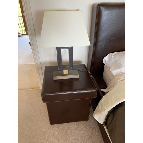 470 - kingsize brown Leather bed (no mattress) In very good with all the bedding but not the throw, With m...