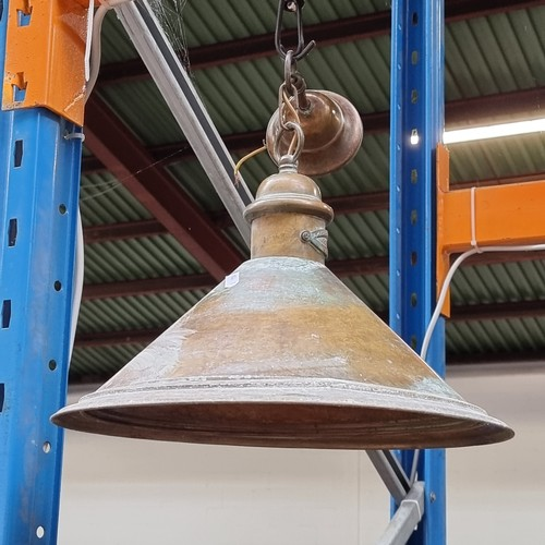 294 - Star Lot : Six vintage copper ceiling lights with nice patina, with small plaques reading