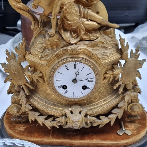 317 - Star Lot : Fabulous French 8 day gilt clock from 1866 By PH Mourey. The clock is encased in a huge h...