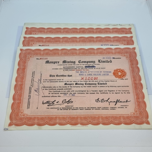 51 - A collection of 18 consecutively numbered 100 shares certificates for the Mon Pre Mining Company Ltd...