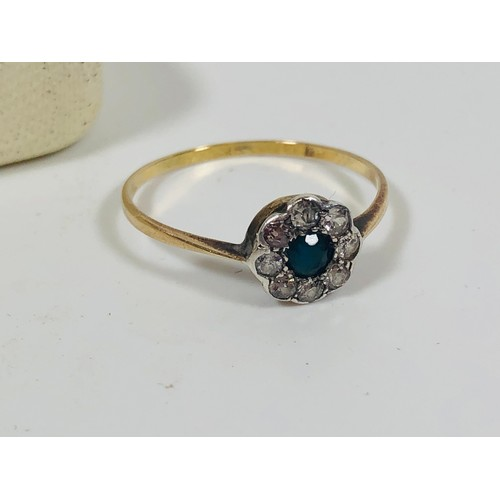 5 - Antique gold and diamond ring, emerald? size Q, 1.23gr. Gold tested.