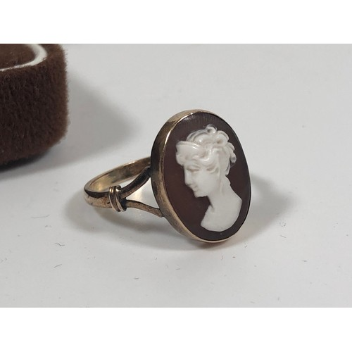 6 - Vintage 14ct gold cameo ring size P, 2.61gr. Gold tested....
