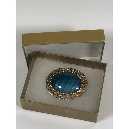 16 - Vintage large Sphinx blue agate brooch....