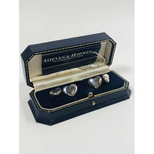 3 - Vintage cuff links, boxed. H/M silver....