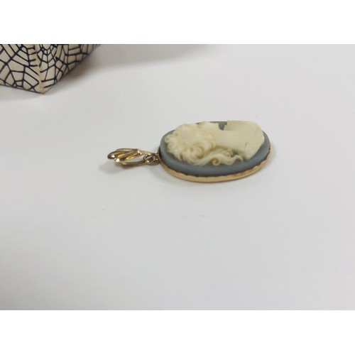 17 - Gold and wedgewood blue cameo pendant. 1.3cms wide x 1.9 deep. Gold tests as 9ct...
