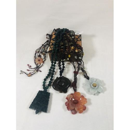 29 - Set of 4 beaded jade necklaces & pendants, Chinese silk box....
