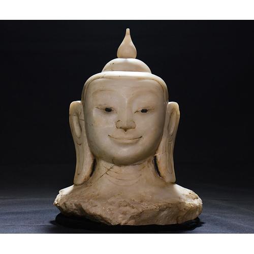 24 - BUDDHA HEAD - BURMA - 19th CENTURY Buddha heah - light marble stone -  Burma - 19th century. Buddha ...