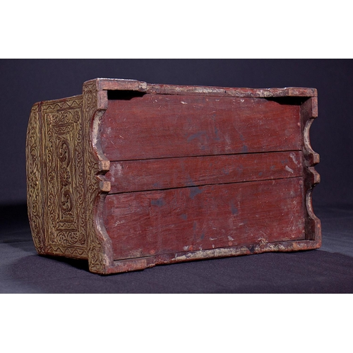 25 - SMALL TRUNK - BURMA - 19th CENTURY Wooden small lacquered and carved chest - Burma 19th secolo...