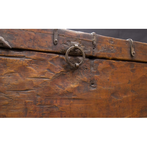 27 - TIBETAN TRUNK - 18th CENTURY - LASHA Tibetan trunk  - wood: Tibetan black pine -  decorated on canva...