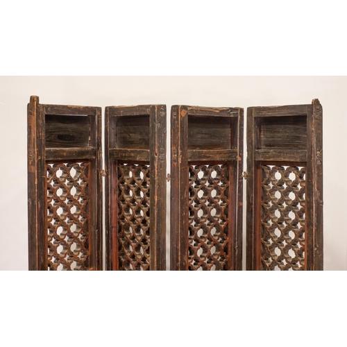 36 - SCREEN - CHINA SHANXÌ PROVINCE - 19th CENTURY Screen, geometric pattern - four sections - China, Sha...